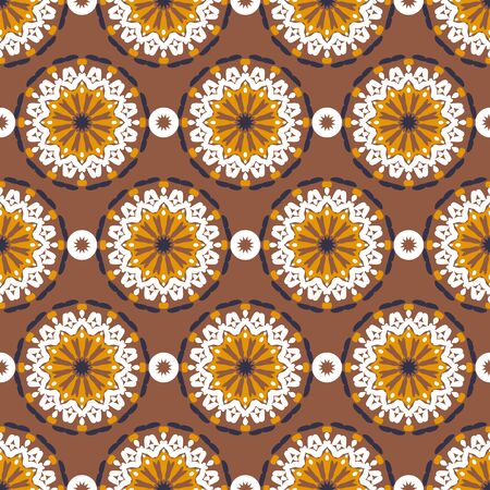 Vector seamless pattern with big abstract flowers in organic brown, gold colors. Vintage style background with flourish decor. Bold print with floral circles, dots and stars with ethic, indian motifs