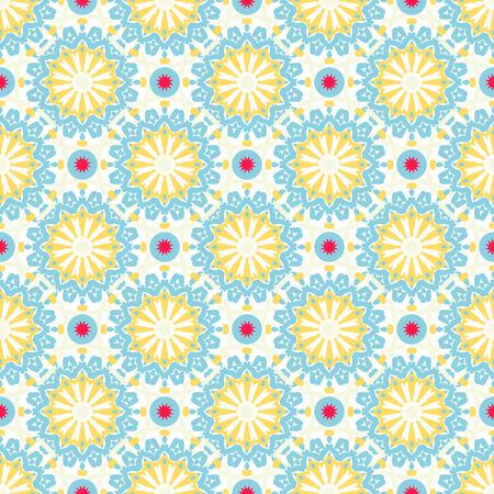 明るい青、赤、白の色の抽象的な花のシームレスなパターンをベクトル。繁栄の装飾が施されたビンテージ スタイルの背景。フローラル サークル、