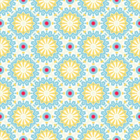 Vector seamless pattern with abstract flowers in bright blue, red, white colors. Vintage style background with flourish decor. Bold print with floral circles, dots and stars with ethic, indian motifs