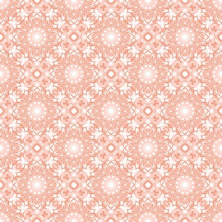 Vector art deco flourish pattern with abstract flowers in 1920s fashion style. Simple and elegant print with chic decor and floral motif and circles for wedding invitation background in coral pink Illustration