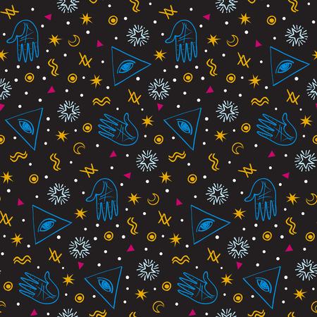 Vector seamless pattern avec l'alchimie colorée et des signes mystiques oeil, triangles, paumes, lunes, étoiles, symboles d'astrologie dessinés à la main dans les lignes. print ditsy moderne brillant avec des formes géométriques en couleur foncée
