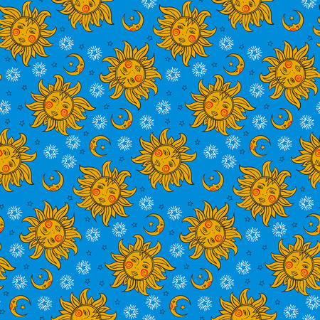 stars and symbols: Vector seamless pattern with vintage astrology symbols sun, moon, stars. Bright colorful fun print with night, day, sky illustration in gold and blue colors. Retro astrological background.
