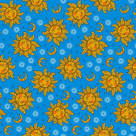 sonne mond und sterne: Vektor nahtlose Muster mit Jahrgang Astrologie Symbole Sonne, Mond, Sterne. Helle bunte Spaßdruck mit der Nacht, Tag, Himmel Illustration in Farben gold und blau. Retro astrologischen Hintergrund.