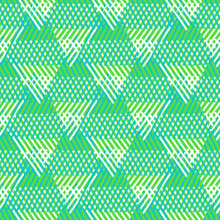 Vector seamless geometric pattern with striped triangles, abstract dynamic shapes in bright colors. Hand drawn background with overlapping lines in 1970s fashion style. Modern textile print in green Ilustração