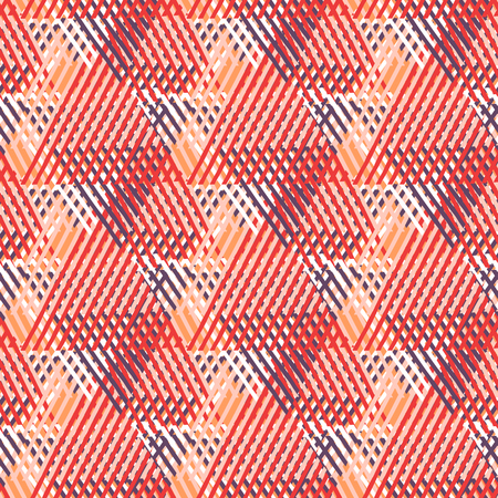 nineties: Vector seamless geometric pattern with striped triangles, abstract dynamic shapes in bright colors. Hand drawn background with overlapping lines in 1980s fashion style. Modern textile print in red