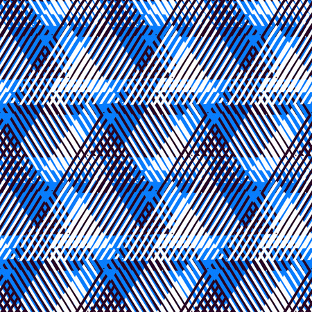 nineties: Vector seamless geometric pattern with striped triangles, abstract dynamic shapes in bright blue colors. Hand drawn background with overlapping lines in 1980s fashion style. Modern textile print