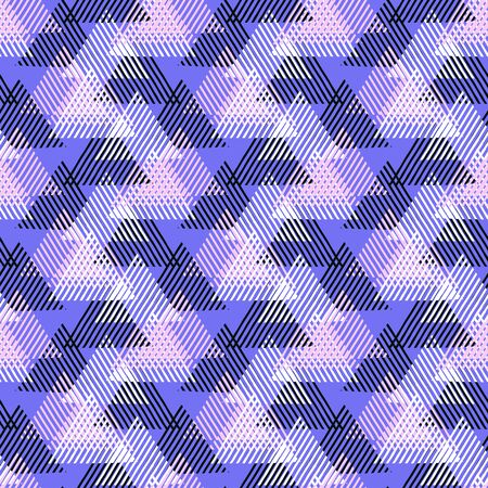 Vector seamless geometric pattern with striped triangles, abstract dynamic shapes in bright colors. Hand drawn background with overlapping lines in 1980s fashion style. Modern textile print in purple