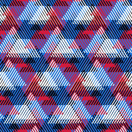 avant: Vector seamless geometric pattern with striped triangles, abstract dynamic shapes in bright blue, red colors. Hand drawn background with overlapping lines in 1980s fashion style. Modern textile print