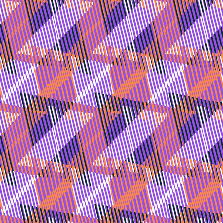 Vector geometric seamless pattern with lines and triangles in bright violet, pink, orange colors. Striped modern bold print in 1980s style for summer fall fashion. Abstract techno chevron background