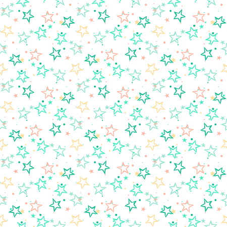star background: Vector seamless pattern with bright blue stars and dots on white background. Fun ditsy print with firework confetti and twinkle light. Concept of birthday celebration and holiday spirit in retro style