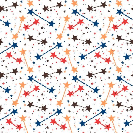 Vector seamless pattern with bright colorful stars and dots on white background. Fun ditsy print with night sky, constellations and twinkle lights. Concept of astrology and birthday and holiday spirit