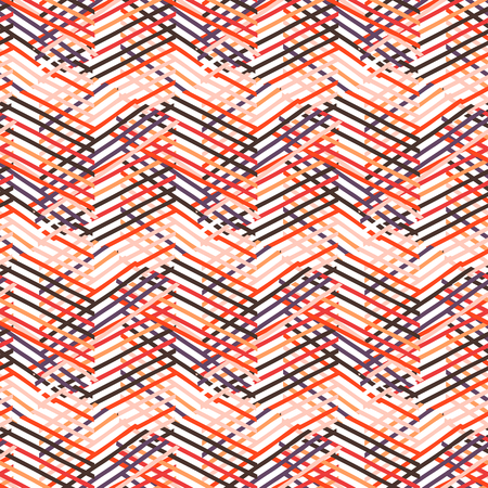 avant: Vector geometric seamless pattern with lines and zigzags in bright red, pink colors. Striped modern bold print in 1980s retro style for summer fall fashion. Abstract techno chevron background