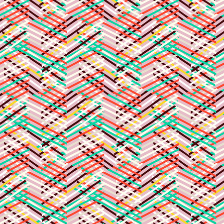 fall fashion: Vector geometric seamless pattern with lines and zigzags in bright mint, red, pink colors. Striped modern bold print in 1980s retro style for summer fall fashion. Abstract techno chevron background Illustration
