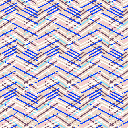 retro pattern: Vector geometric seamless pattern with lines and zigzags in bright blue, pink, white colors. Striped modern bold print in 1980s retro style for summer fall fashion. Abstract techno chevron background