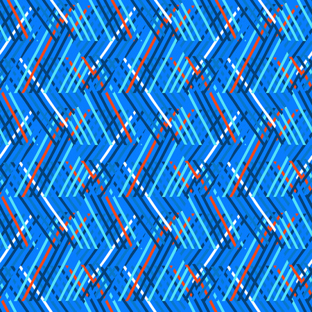 sports wear: Vector seamless geometric pattern with striped triangles, abstract diagonal shapes in bright blue color. Hand drawn background with overlapping lines in 1980s fashion style. Modern funky textile print