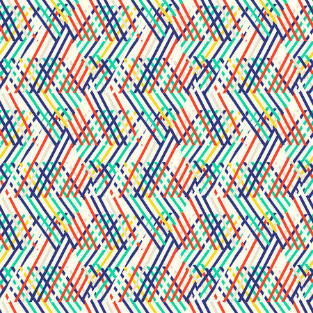 Vector seamless geometric pattern with striped triangles, abstract diagonal shapes in many bright color. Hand drawn background with overlapping lines in 1980s fashion style. Modern funky textile print Illustration