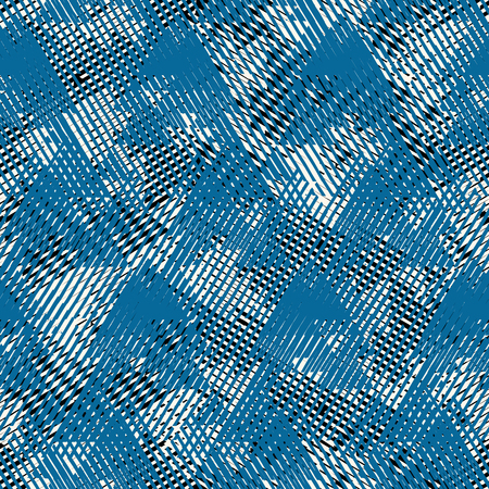 Vector bold seamless pattern with dynamic diagonal crossing lines and strips in black, white, blue colors. Geometric striped modern print in 1980s style for textile design. Abstract techno background