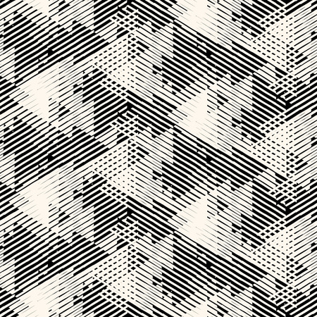 Vector géométrique seamless pattern avec des lignes et des triangles qui se chevauchent en noir et blanc. Rayé caractères gras moderne dans les années 1980 le style de la mode automne d'été. techno dynamique Résumé fond chevron