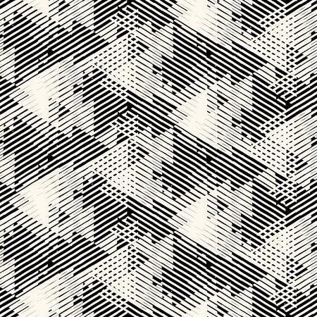 Vector geometrische naadloze patroon met lijnen en overlappende driehoeken in zwart-wit. Gestreepte moderne vetgedrukt in 1980 stijl voor de zomer herfst mode. Abstracte dynamische techno chevron achtergrond