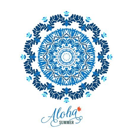 handmade soap: Vector illustration of big blue detailed mandala. Floral tropical abstract background with psychedelic motifs. Concept round ornament for yoga studio, meditation, tattoo salon, spiritual workshop Illustration