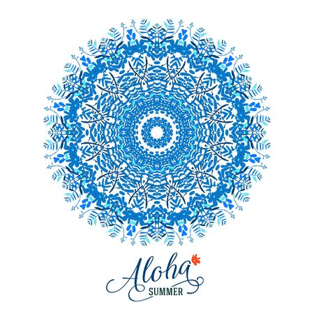 Vector illustration of big blue detailed mandala. Floral tropical abstract background with psychedelic motifs. Concept round ornament for yoga studio, meditation, tattoo salon, spiritual workshop Vettoriali