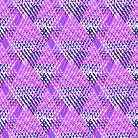 sporty: Vector bold seamless pattern with diagonal colorful lines and stripes in bright pink, black colors. Geometric striped modern print in 1980s style for textile design. Abstract tech grunge background Illustration