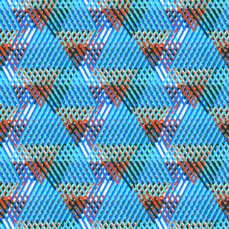 colorful grunge: Vector bold seamless pattern with diagonal colorful lines and stripes in multiple bright blue colors. Geometric striped modern print in 1980s style for textile design. Abstract tech grunge background Illustration