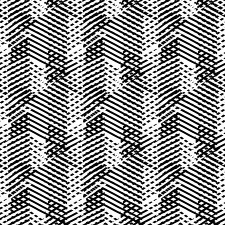 Vector geometric seamless pattern with lines and overlapping triangles in black and white. Striped modern bold print in 1980s style for summer fall fashion. Abstract dynamic techno chevron background Фото со стока - 61439714
