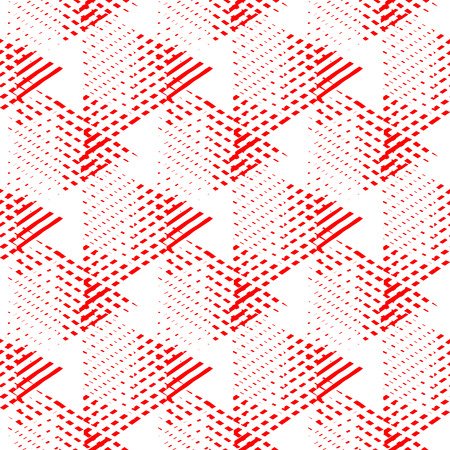 Vector bold seamless pattern with dynamic diagonal crossing lines and stripes in bright pink, white colors. Geometric striped modern print in 1980s style for textile design. Abstract techno background