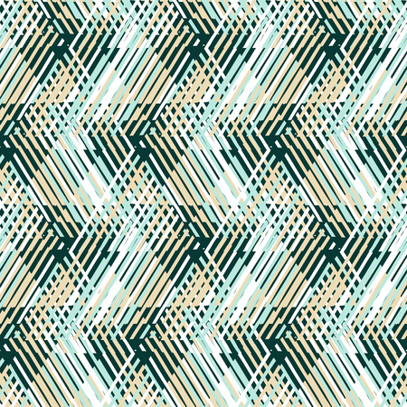 spring fashion: Vector geometric seamless pattern with line and zigzags in  mint green, blue, beige colors. Striped modern bold print in 1980s retro style for summer spring fashion Abstract techno chevron background Illustration