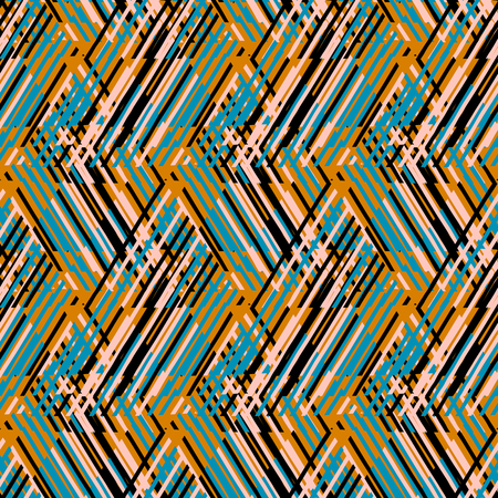 fall fashion: Vector geometric seamless pattern with lines and zigzags in bright blue, yellow colors. Striped modern bold print in 1980s retro style for summer fall fashion. Abstract techno chevron background