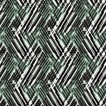 Vector geometric seamless pattern with line and zigzags in black, white green colors. Striped modern bold print in 1980s retro style for summer spring fashion Abstract techno chevron background