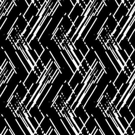 검은 색과 흰색 라인과 중복 삼각형 벡터 형상 원활한 패턴. 여름 가을 패션 1980 년대 스타일의 스트라이프 현대 굵게 인쇄. 추상 동적 테크노 갈매기