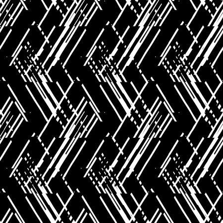 abstract black: Vector geometric seamless pattern with lines and overlapping triangles in black and white. Striped modern bold print in 1980s style for summer fall fashion. Abstract dynamic techno chevron background