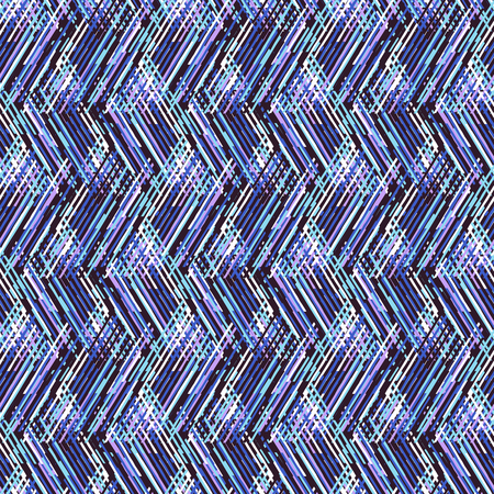 Vector geometric seamless pattern with lines and zigzags in bright electric blue colors. Striped modern bold print in 1980s retro style for summer fall fashion. Abstract techno chevron background