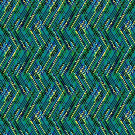 retro pattern: Vector geometric seamless pattern with lines and zigzags in bright green black colors. Striped modern bold print in 1980s retro style for summer fall fashion. Abstract techno chevron background
