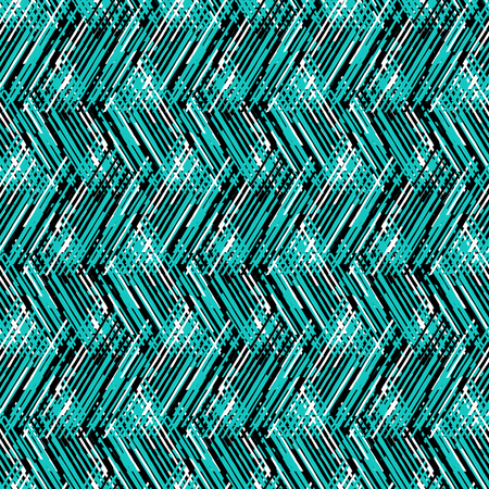 fall fashion: Vector geometric seamless pattern with lines and zigzags in bright blue black colors. Striped modern bold print in 1980s retro style for summer fall fashion. Abstract techno chevron background Illustration