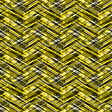 Vector geometric seamless pattern with lines and zigzags in bright yellow black colors. Striped modern bold print in 1980s retro style for summer fall fashion. Abstract techno chevron background
