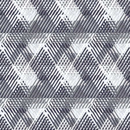 modern design: Vector geometric seamless pattern with lines and overlapping triangles in black and white. Striped modern bold print in 1980s style for summer fall fashion. Abstract dynamic techno chevron background