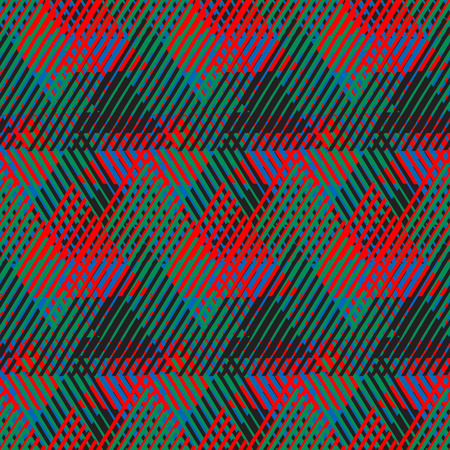 cross hatch: Vector seamless geometric pattern with striped triangle, abstract dynamic shape in bright color. Hand drawn background with overlapping lines in 1980s fashion style. Modern textile print in blue pink