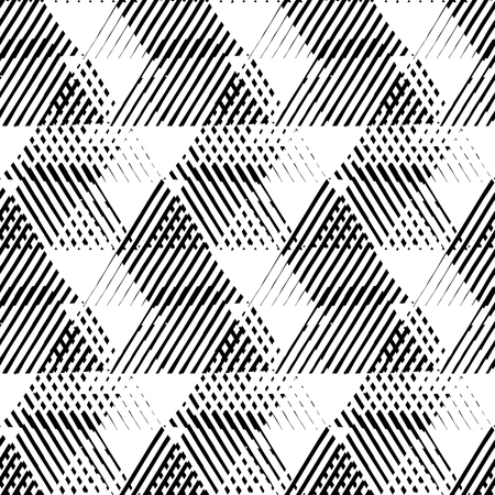 geometric shapes: Vector seamless geometric pattern with striped triangles, abstract dynamic shapes in black and white. Hand drawn background with crossing lines in 1980s fashion style. Modern techno textile print