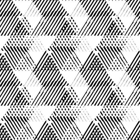forme: Vector seamless motif géométrique avec des triangles rayés, des formes dynamiques abstraites en noir et blanc. Main fond dessiné avec des lignes de passage dans les années 1980 le style de la mode. techno moderne impression textile