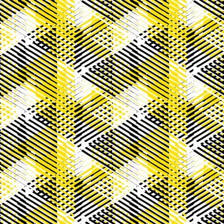 Vector naadloos geometrisch patroon met gestreepte driehoeken, abstracte dynamische vormen in wit, zwarte gele kleuren. Hand getekende achtergrond met kruislijnen in de jaren '80 mode stijl. Moderne textielafdruk