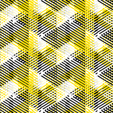 Vector seamless geometric pattern with striped triangles, abstract dynamic shapes in white, black yellow colors. Hand drawn background with  crossing lines in 1980s fashion style. Modern textile print Ilustração