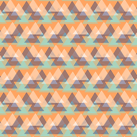 op: Vector seamless geometric pattern with striped triangles, abstract dynamic shapes in bright color. Hand drawn background with overlapping lines in 1990s fashion style. Modern textile print in orange