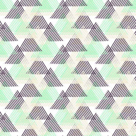 geometric lines: Vector seamless geometric pattern with striped triangles, abstract dynamic shapes in pink, blue white, black colors. Hand drawn background with lines in 1990s fashion style. Modern textile print. Illustration