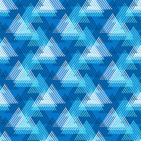 edgy: Vector seamless geometric pattern with striped triangles, abstract dynamic shapes in bright colors. Hand drawn background with overlapping lines in 1980s fashion style. Modern textile print in blue