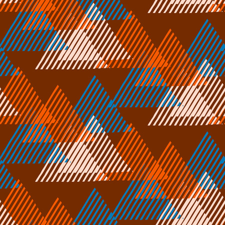 funky background: Vector seamless geometric pattern with striped triangles, abstract dynamic shapes in organic, natural brown colors. Hand drawn funky background with lines in 1990s fashion style. Modern textile print