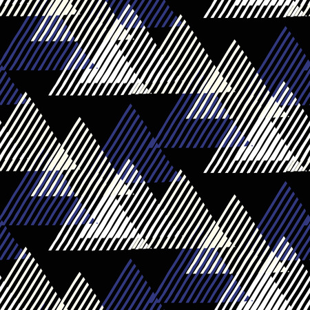funky: Vector seamless geometric pattern with striped triangles, abstract dynamic shapes in black, blue, white colors. Hand drawn funky background with lines in 1990s fashion style. Modern tech textile print
