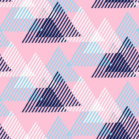 patrón geométrico sin fisuras con triángulos rayados, formas dinámicas abstractas en colores azul, rosa, blanco. Dibujado a mano de fondo moderno con líneas de estilo de la moda 1990. Moderna tecnología de impresión textil.
